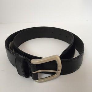 Black genuine leather belt